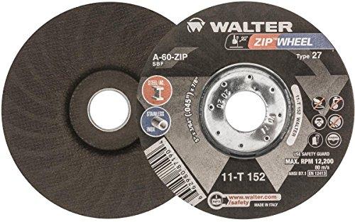 Walter ZIP Wheel High Performance Cutoff Wheel, Type 27, Round Hole, Aluminum Oxide, 5