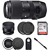 Sigma 100-400mm f/5-6.3 DG OS HSM Contemporary Lens for Canon w USB Dock & 32GB Photo Bundle