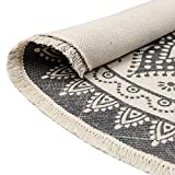 HEBE 4 Ft Cotton Rugs Round Washable Chic Bohemian