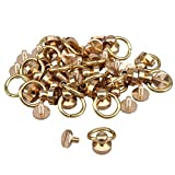 20pcs Gold Color Solid Brass Round Head Button O-ring Studs Screwback Screws Nail For Belt Wallet Buckle