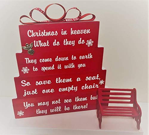 - Christmas in Heaven, save them a seat, one empty chair, Christmas Red with red and white dotted and striped ribbon, snowflakes with Red Detailed Bench