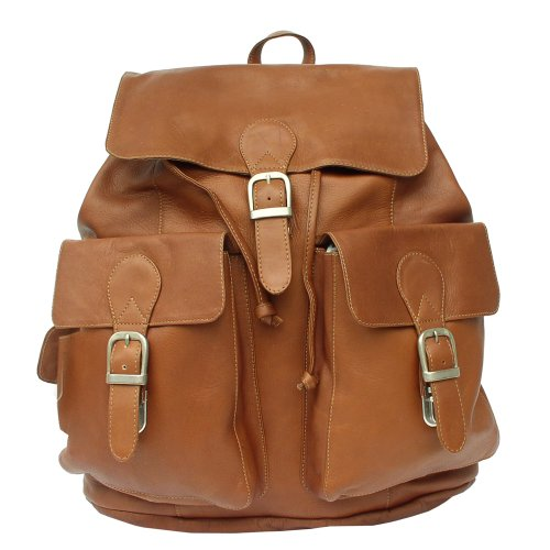 - Piel Leather Large Buckle-Flap Backpack, Saddle, One Size