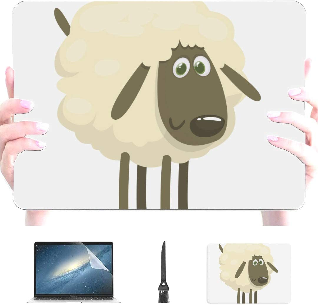 Engree Cute White Animals Little Sheep Pattern Plastic Hard Shell Case Compatible with MacBook 12 inch with Retina Display Model A1534, Release 2017 2016 2015