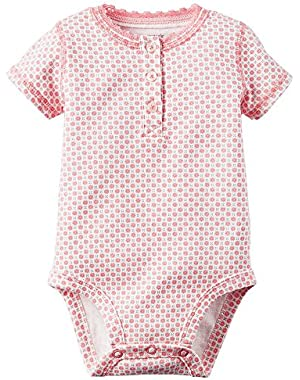Girl Short Sleeve Button Front Pink Daisy Print Bodysuit;