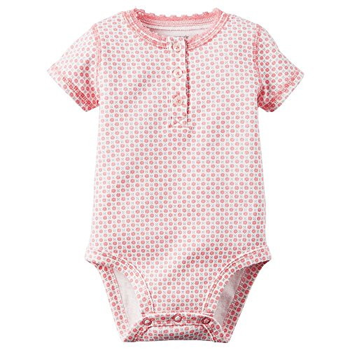 Carter's Girl Short Sleeve Button Front Pink Daisy Print Bodysuit; (3M) - Infant Girl Carters Daisy