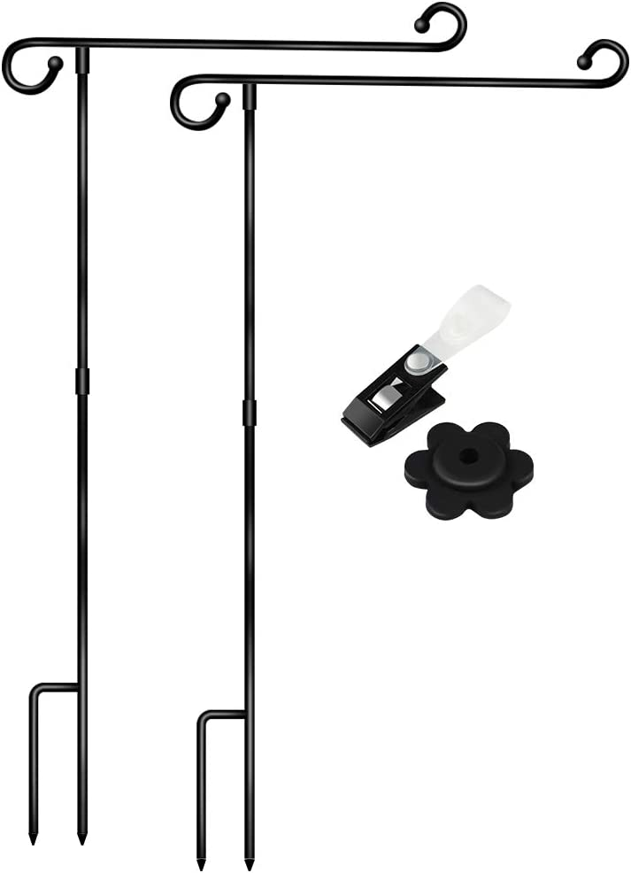 2 Pack Garden Flag Stand Holder Easy to Install Strong and Sturdy Wrought Iron Yard Flag Pole with 2 Pair Garden Flag Stopper and Anti-Wind Clip Without Flag (Black)