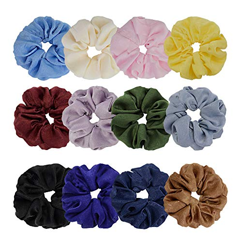 Chloven 12 Colors Large Premium New Velvet Hair Scrunchies Silk Elastic Hair Bobbles Scrunchy Hair Ties Ponytail Holder Hair Accessories Scrunchies for Hair
