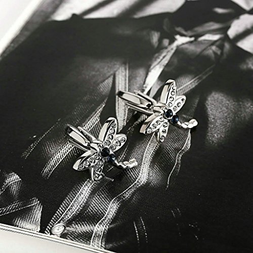 AnaZoz Bijoux Fantaisie Bouton de Manchette Libellule Incrusté de Zircone Cubique Blue Blanc Original 1 Paire, Cufflinks Acier Inoxydable Femme Homme
