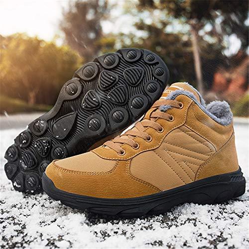 Hiver Randonnée Axcone Femme Fourrure Sneakers Brown Boots Outdoor Neige Trekking Cuir Bottes De Chaussures Homme Étanche Imperméable ZqIrWnqzx