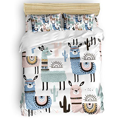 CHARMHOME Duvet Cover Set Twin Size - Lovely Camel Animal Plant Decoration Soft 4 Piece Bedding with Sheet Set and 2 Decorative Pillows Shams - No Comforter