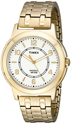 (Timex Men's TW2P62000 Bank Street Gold-Tone Stainless Steel Expansion Band Watch)