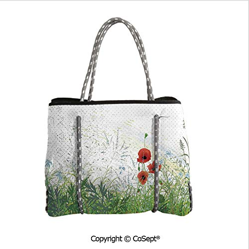 Waterproof Beach Bag,Illustration of Meadow Field A Single Fleur de lis on Distressed Grunge Background,Perfect Tote Bag For Holidays(14.9