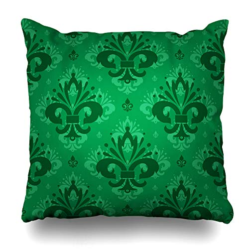 Ahawoso Throw Pillow Cover Floral Damask Luxury Regal Green Fleur De LYS Victorian On Emerald Shaded Royal Vintage Abstract Zippered Pillowcase Square Size 16 x 16 Inches Home Decor Cushion Case