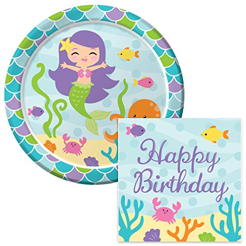 Mermaid Friends Happy Birthday Lunch Napkins & Plates Party Kit for ()