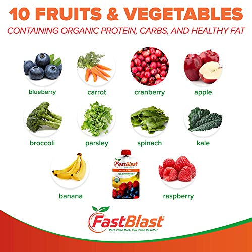 FastBlast Banana-Berry Smoothie. Supports Intermittent Fasting. Controls Appetite and Maintains Energy. USDA Certified Organic, Vegan, Non-GMO, Soy Free & No Added Sugar (48 Units: 4 Packs of 12) by FastBlast (Image #2)