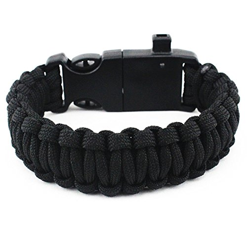 Multifunctional-Outdoor-Survival-Paracord-Bracelet-Emergency-Kit-Parachute-Cord-Buckle-5-in-1-with-Fire-Starter-Compass-Emergency-Whistle-Scraper-Parachute-Lanyard-Black