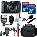 Canon Powershot G 1 X Mark II (Black) HS Point and Shoot Digital Camera, W/ Case + 64GB Memory + Flash + Tripod + Case + Cleaning Kit + More – International Model