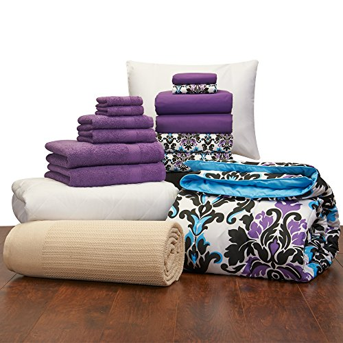 16 Piece Girls Student Starter Pak ? Twin XL College Dorm Bedding and Bath Set (Color: Ashley Damask and Grape) by Campus Linens