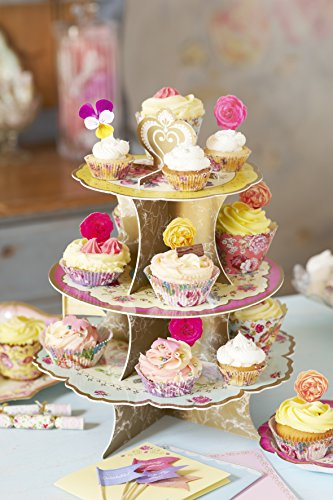 Talking Tables Truly Scrumptious Floral Cake Stand (3 Tier) for a Tea Party, Wedding or Birthday, Multicolor by Talking Tables (Image #2)
