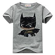 Batman Shirt for Boys Kids Soft Cotton Superhero Graphic T-shirt by Sun Baby, Grey 18-24 months