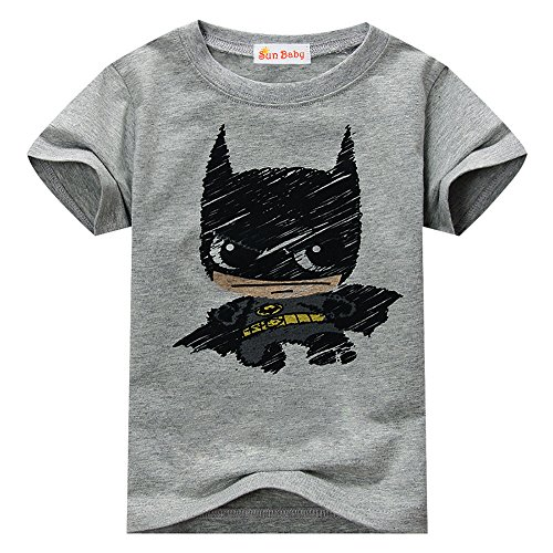 Toddler T-shirt for Batman Fans Superhero Graphic Short Sleeve Cotton Tee by Sun Baby,Gray,3-4 -