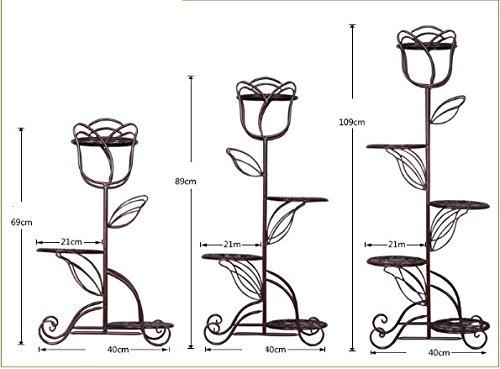 Iron multilayer flower rack / European balcony living room floor pots shelf / indoor simple shelves ( Color : Black , Size : 4040109cm ) by Flower racks - xin
