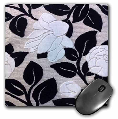 Lee Hiller Designs 50s Retro Print - White Roses and Black Leaves - MousePad (mp_5035_1) ()