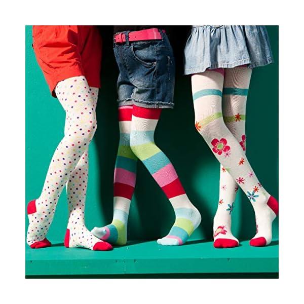 WELLYOU, collant per bambini per bambina, set di 3, calzamaglia ecru, cotone alta quota, taglia 62-146 5