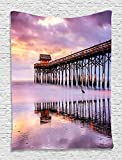 Purple Tapestry Ocean Decor by Ambesonne, Old Wooden Bridge Seascape Seaside Marine Picture Art Prints Harbour Lights Tapestry Hanging Dorm Bedroom Living Room Decorations, Purple Yellow Brown Blue