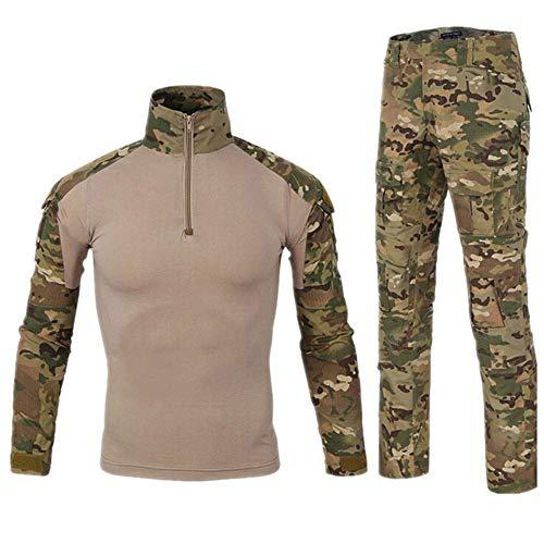 - Men Combat T Shirt and Pant Set 1/4 Zip Camo Military Tactial Uniform with Long Sleeve BDU Airsoft Hunting Shirt (XL, MC Camouflage)