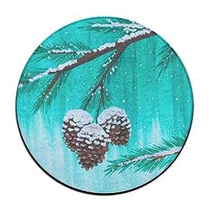 Baerg - Felpudo redondo para invierno, diseño de conos de nieve, antideslizante, resistente a la decoloración, suave, alfombra de comedor de 60 cm