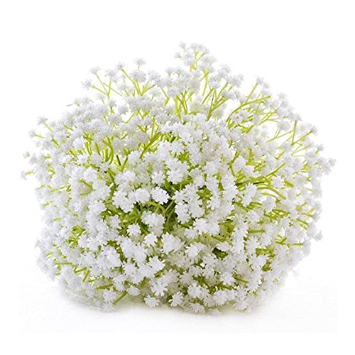 Abbie Home Bride Bouquets-Handmade Baby's Breath Bouquet with Satin Ribbon Lace Wrapped Holding (D484) from Abbie Home