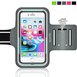 iPhone 8 Plus Sport Armband Running Case iPhone 7 Plus 6s Plus 6 Plus Samsung Galaxy S8 Plus, LG, with case (Otterbox/Lifeproof/others), Water Resistant Fitness Gym Workout Case Key/Card Holder [GRAY]
