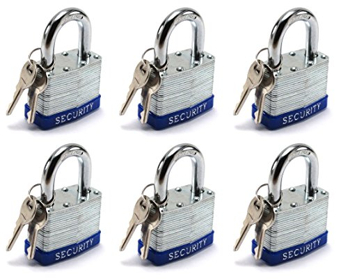 Elitexion Heavy Duty Laminated Steel Padlock, Commercial Grade Keyed Alike 2-Inch (Pack of 6)