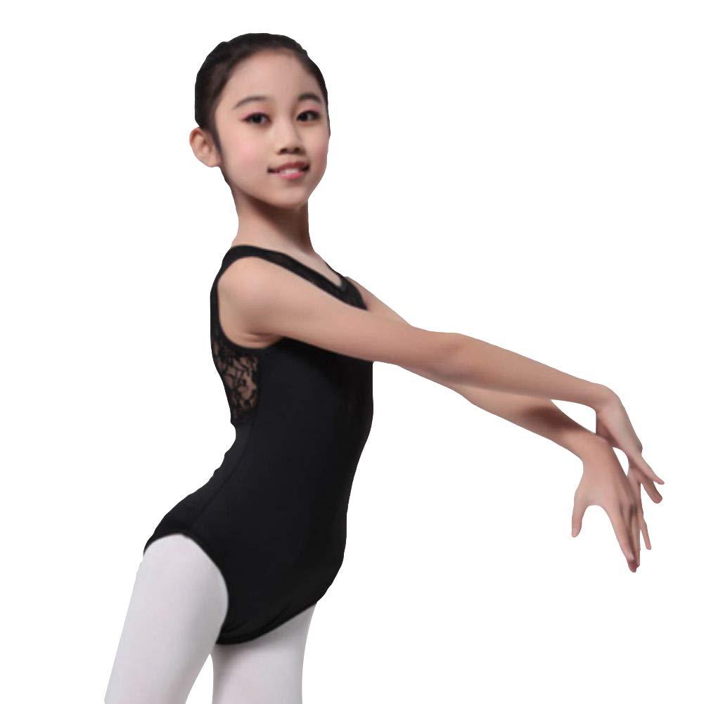 febb15c400bb Amazon.com: Gsha Girls Sleeveless Lace Ballet Dancewear Leotard Black White Gymnastics  Tops Costumes: Clothing