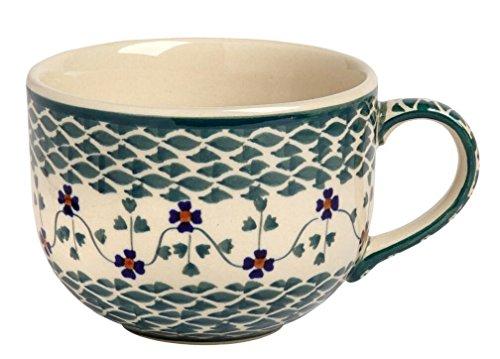 Polish Pottery Handmade Floral Basketweave Soup Mug, 18 Oz