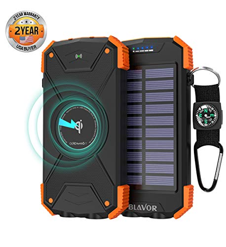 Portable Qi Wireless Power Bank, Ultra-Compact 10000mAh USB External Battery Pack Backup Battery Power Pack with 2.1A USB Output/Type-C Input/Solar Panel Emergency Charging/Dual Flashlights