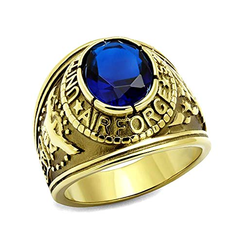 Eternal Sparkles Air Force Ring Men's US Gold Ip Plated Stainless Steel Blue Oval Synthetic Glass