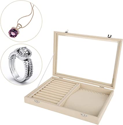 Caja de Relojes de Joyería - Caja de Exhibición para Joyero de Relojes, Anillo de franela para Mujeres y Chicas,Organizador para Pendientes, Anillos, Collares y Pulseras: Amazon.es: Belleza