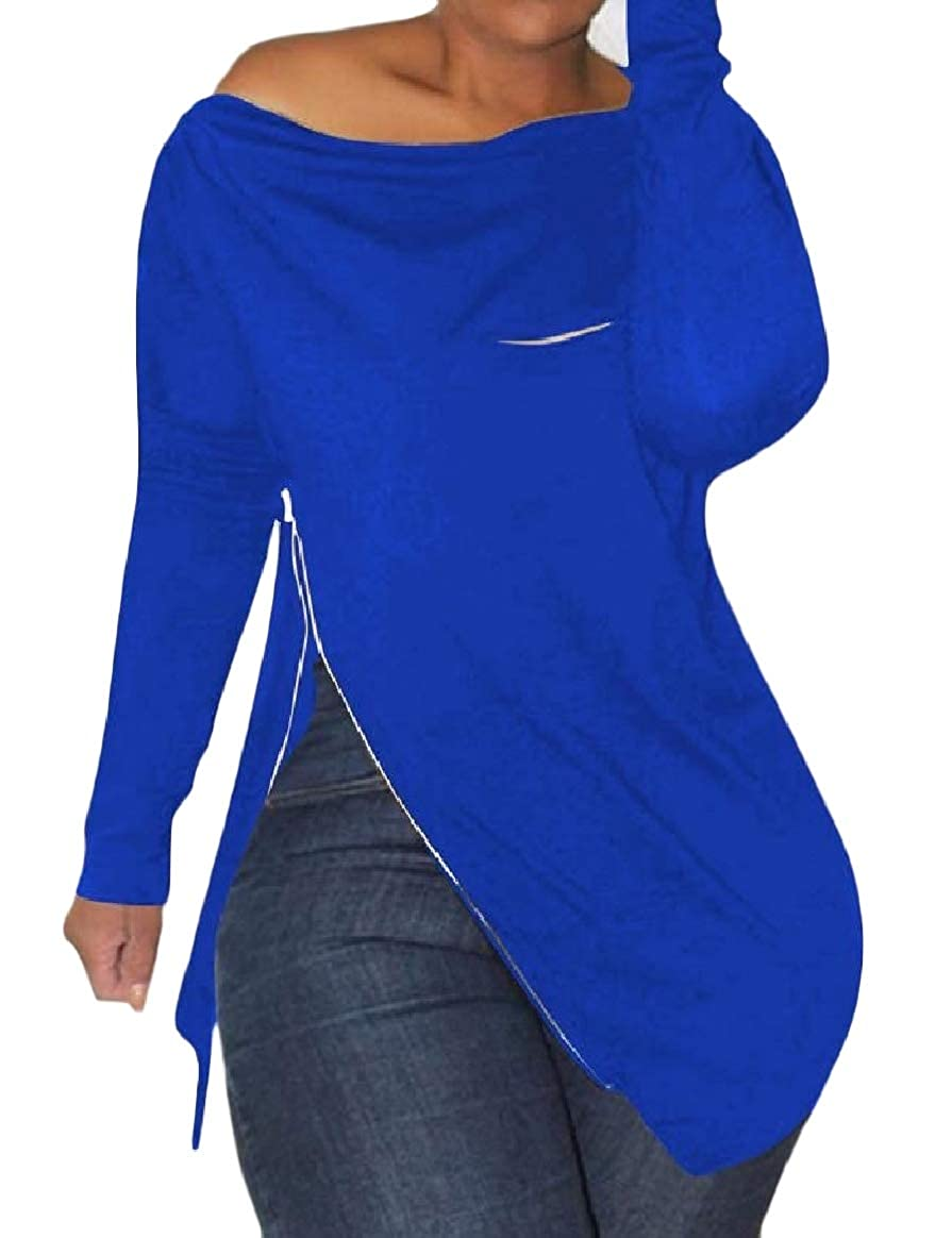 Tootless-Women Long-Sleeve Zipper Unbalanced Hem Solid Over Sized Top Tees