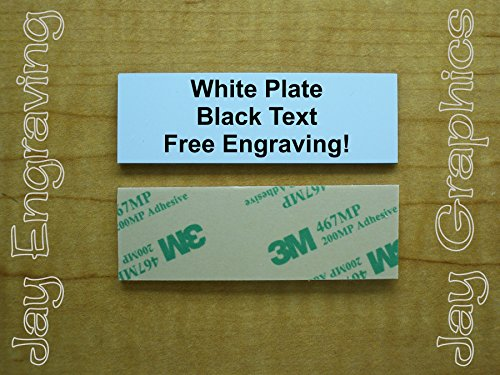Custom Engraved 1x3 Plate Tag with Adhesive | Personalized Customized ID Card Wall Door Desk Name Sign Small Business Home Office Storage Attick Scrapbooking Organization Personalised Bin (White)