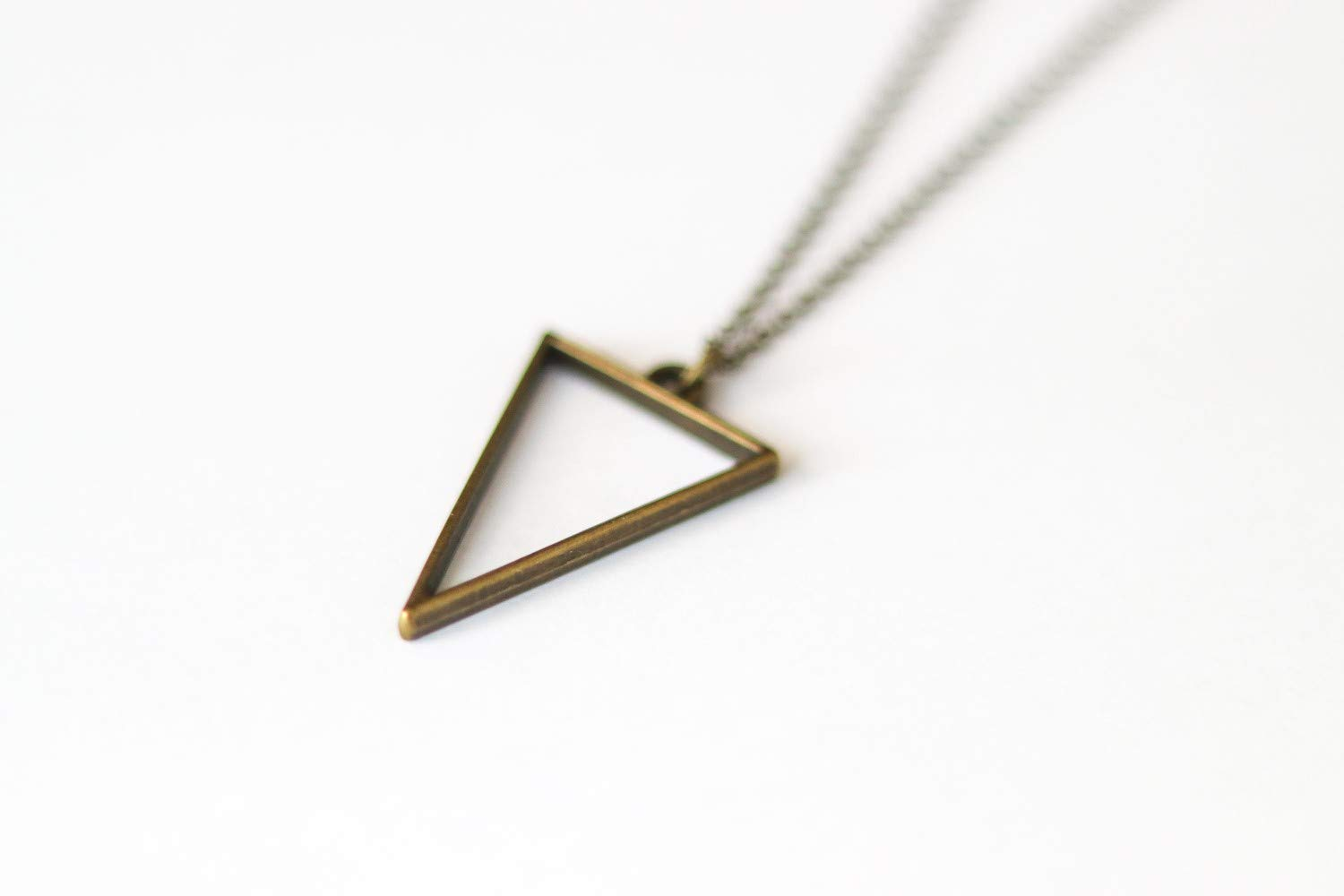 geometric necklace mens necklace with a bronze triangle pendant bronze chain Triangle necklace for men groomsmen gift gift for him
