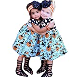 Muxika Toddler Kids Baby Girl Cute Halloween Pumpkin Party Cartoon Princess Dress