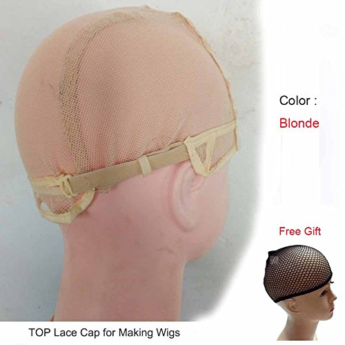 Stretch Cap Wigs (Blonde Color Lace Wig Caps For Making Wigs Hot Dome Cap For Wig Hair Net Hair Weaving Stretch Adjustable Wig Cap (1 Pcs Clr: Blonde))