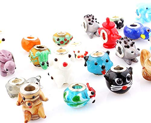 Calvas Wholesale 20pcs /Lot Mix Style Animal Murano Glass Lampwork Beads Big Hole Silver Core for European Charm Bracelet