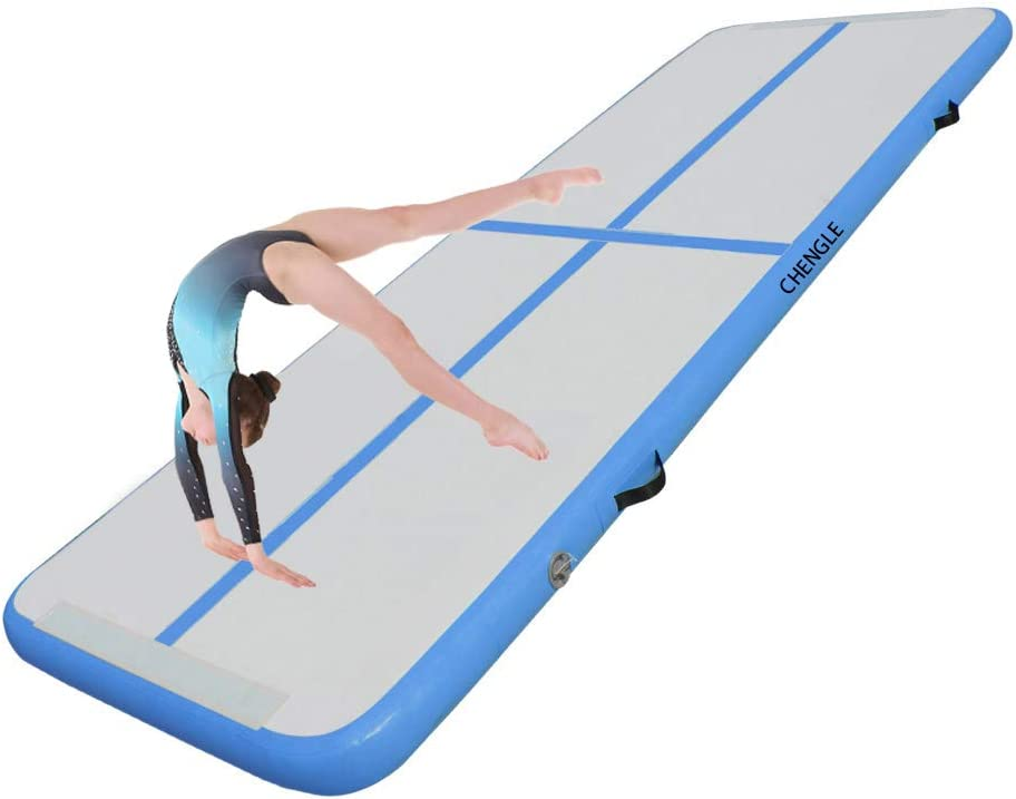 CHENGLE 10/13/16/20ft Inflatable Gymnastics Training Mats Tumbling Mats 4Inch Thickness for Home Use/Training/Cheerleading/Yoga/Water Fun with Electric Pump