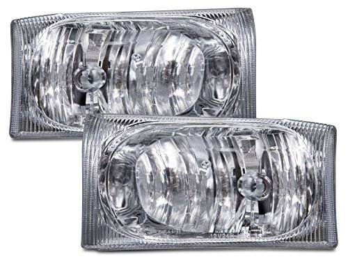 HEADLIGHTSDEPOT Chrome Housing Halogen Headlights w/Euro Clear Lens Compatible with Ford Excursion F-250 Super Duty F-350 F-450 F-550 Includes Left Driver and Right Passenger Side - Assembly Reflecting Housing