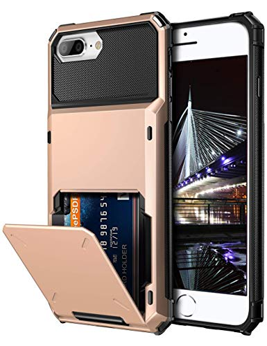 Dual Pocket Case - Vofolen Case for iPhone 8 Plus 7 Plus 6s Plus Wallet Card Holder 4-Slot Pocket Scratch Resistant Dual Layer Protective Bumper Rugged Rubber Armor Hard Shell Cover for iPhone 6 6S 7 8 Plus Rose Gold