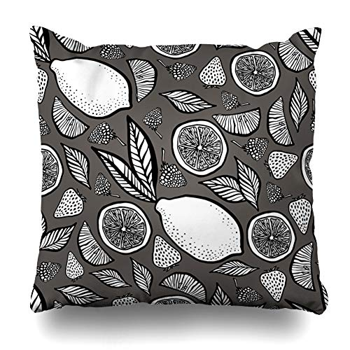 Ahawoso Throw Pillow Cover Fruits Berries Strawberries Exotic Citrus Color Dessert Design Home Decor Pillowcase Square Size 16 x 16 Inches Zippered Cushion Case
