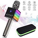 TONOR Wireless Karaoke Microphone, Handhled Bluetooth Speaker Lighting Party Mic for Apple iPhone/Android Smartphones with Zippered Box, Gift for Kids/Singing Fans, Grey